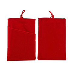 Double Pochette Housse Velour Universel pour Huawei Honor Magic 2 Rouge