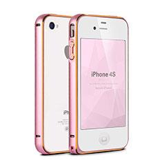 Etui Bumper Luxe Aluminum Metal pour Apple iPhone 4 Rose