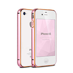 Etui Bumper Luxe Aluminum Metal pour Apple iPhone 4S Rose