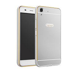 Etui Bumper Luxe Aluminum Metal pour Huawei Y6 Argent