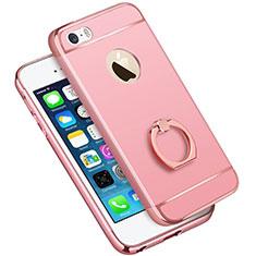 Etui Bumper Luxe Metal et Plastique avec Support Bague Anneau A01 pour Apple iPhone 5S Rose