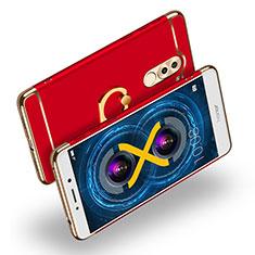 Etui Bumper Luxe Metal et Plastique avec Support Bague Anneau A02 pour Huawei Honor 6X Pro Rouge
