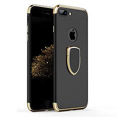 Etui Bumper Luxe Metal et Plastique avec Support Bague Anneau A03 pour Apple iPhone 7 Plus Noir