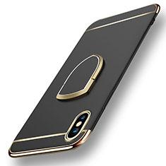 Etui Bumper Luxe Metal et Plastique avec Support Bague Anneau F05 pour Apple iPhone Xs Noir