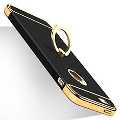 Etui Bumper Luxe Metal et Plastique avec Support Bague Anneau pour Apple iPhone 5S Noir