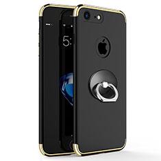 Etui Bumper Luxe Metal et Plastique avec Support Bague Anneau pour Apple iPhone 7 Noir
