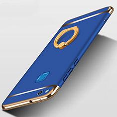 Etui Bumper Luxe Metal et Plastique avec Support Bague Anneau pour Huawei GR3 (2017) Bleu