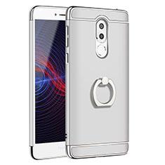 Etui Bumper Luxe Metal et Plastique avec Support Bague Anneau pour Huawei Honor 6X Pro Argent
