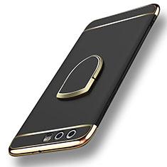 Etui Bumper Luxe Metal et Plastique avec Support Bague Anneau pour Huawei Honor 9 Noir
