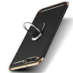 Etui Bumper Luxe Metal et Plastique avec Support Bague Anneau pour Huawei Honor V10 Noir