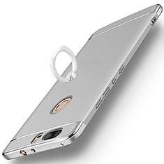 Etui Bumper Luxe Metal et Plastique avec Support Bague Anneau pour Huawei Honor V8 Argent