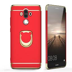 Etui Bumper Luxe Metal et Plastique avec Support Bague Anneau pour Huawei Mate 9 Rouge