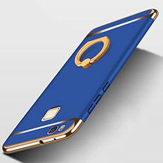 Etui Bumper Luxe Metal et Plastique avec Support Bague Anneau pour Huawei P9 Lite Bleu