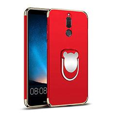 Etui Bumper Luxe Metal et Plastique avec Support Bague Anneau pour Huawei Rhone Rouge