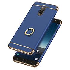 Etui Bumper Luxe Metal et Plastique avec Support Bague Anneau pour Samsung Galaxy C8 C710F Bleu