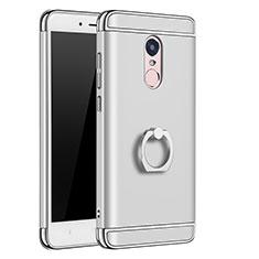 Etui Bumper Luxe Metal et Plastique avec Support Bague Anneau pour Xiaomi Redmi Note 4X Argent