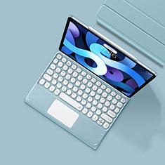 Etui Clapet Portefeuille Livre Cuir avec Clavier K01 pour Apple iPad Air 4 10.9 (2020) Bleu Clair