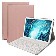 Etui Clapet Portefeuille Livre Cuir avec Clavier K01 pour Huawei MatePad 10.8 Or Rose