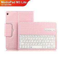Etui Clapet Portefeuille Livre Cuir avec Clavier L01 pour Huawei MediaPad M3 Lite 10.1 BAH-W09 Rose