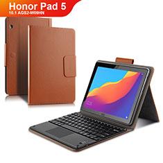 Etui Clapet Portefeuille Livre Cuir avec Clavier pour Huawei Honor Pad 5 10.1 AGS2-W09HN AGS2-AL00HN Marron