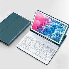 Etui Clapet Portefeuille Livre Cuir avec Clavier pour Huawei MatePad 10.8 Cyan