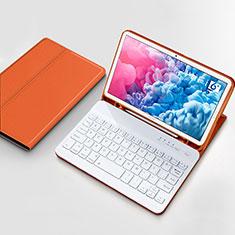 Etui Clapet Portefeuille Livre Cuir avec Clavier pour Huawei MatePad 10.8 Orange