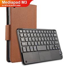 Etui Clapet Portefeuille Livre Cuir avec Clavier pour Huawei Mediapad M3 8.4 BTV-DL09 BTV-W09 Marron