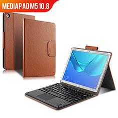 Etui Clapet Portefeuille Livre Cuir avec Clavier pour Huawei MediaPad M5 10.8 Marron