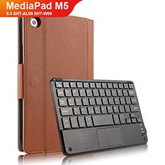 Etui Clapet Portefeuille Livre Cuir avec Clavier pour Huawei MediaPad M5 8.4 SHT-AL09 SHT-W09 Marron