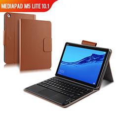 Etui Clapet Portefeuille Livre Cuir avec Clavier pour Huawei MediaPad M5 Lite 10.1 Marron