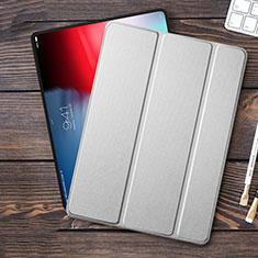 Etui Clapet Portefeuille Livre Cuir L01 pour Apple iPad Pro 12.9 (2018) Argent