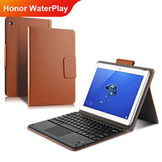 Etui Clapet Portefeuille Livre Cuir L01 pour Huawei Honor WaterPlay 10.1 HDN-W09 Or