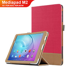 Etui Clapet Portefeuille Livre Cuir L01 pour Huawei MediaPad M2 10.1 FDR-A03L FDR-A01W Rouge