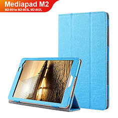 Etui Clapet Portefeuille Livre Cuir L01 pour Huawei Mediapad M2 8 M2-801w M2-803L M2-802L Bleu
