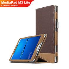 Etui Clapet Portefeuille Livre Cuir L01 pour Huawei MediaPad M3 Lite 8.0 CPN-W09 CPN-AL00 Marron