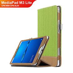 Etui Clapet Portefeuille Livre Cuir L01 pour Huawei MediaPad M3 Lite 8.0 CPN-W09 CPN-AL00 Vert