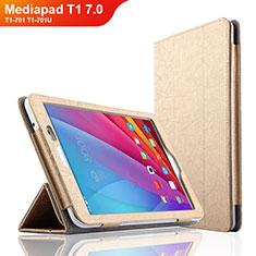Etui Clapet Portefeuille Livre Cuir L01 pour Huawei Mediapad T1 7.0 T1-701 T1-701U Or