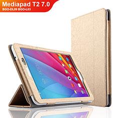 Etui Clapet Portefeuille Livre Cuir L01 pour Huawei Mediapad T2 7.0 BGO-DL09 BGO-L03 Or