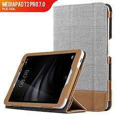 Etui Clapet Portefeuille Livre Cuir L01 pour Huawei MediaPad T2 Pro 7.0 PLE-703L Gris