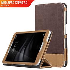 Etui Clapet Portefeuille Livre Cuir L01 pour Huawei MediaPad T2 Pro 7.0 PLE-703L Marron