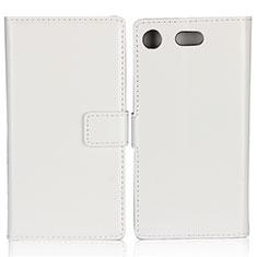 Etui Clapet Portefeuille Livre Cuir L01 pour Sony Xperia XZ1 Compact Blanc