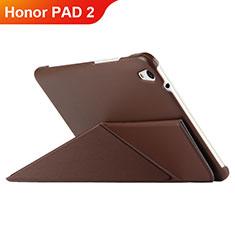 Etui Clapet Portefeuille Livre Cuir L02 pour Huawei Honor Pad 2 Marron