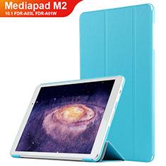 Etui Clapet Portefeuille Livre Cuir L02 pour Huawei MediaPad M2 10.1 FDR-A03L FDR-A01W Bleu Ciel
