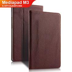 Etui Clapet Portefeuille Livre Cuir L02 pour Huawei Mediapad M3 8.4 BTV-DL09 BTV-W09 Marron