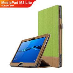 Etui Clapet Portefeuille Livre Cuir L02 pour Huawei MediaPad M3 Lite 10.1 BAH-W09 Vert
