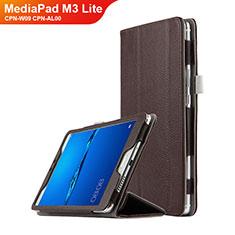 Etui Clapet Portefeuille Livre Cuir L02 pour Huawei MediaPad M3 Lite 8.0 CPN-W09 CPN-AL00 Marron