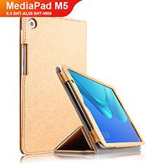 Etui Clapet Portefeuille Livre Cuir L02 pour Huawei MediaPad M5 8.4 SHT-AL09 SHT-W09 Or