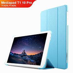 Etui Clapet Portefeuille Livre Cuir L02 pour Huawei Mediapad T1 10 Pro T1-A21L T1-A23L Bleu Ciel