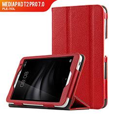 Etui Clapet Portefeuille Livre Cuir L02 pour Huawei MediaPad T2 Pro 7.0 PLE-703L Rouge