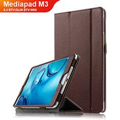 Etui Clapet Portefeuille Livre Cuir L03 pour Huawei Mediapad M3 8.4 BTV-DL09 BTV-W09 Marron